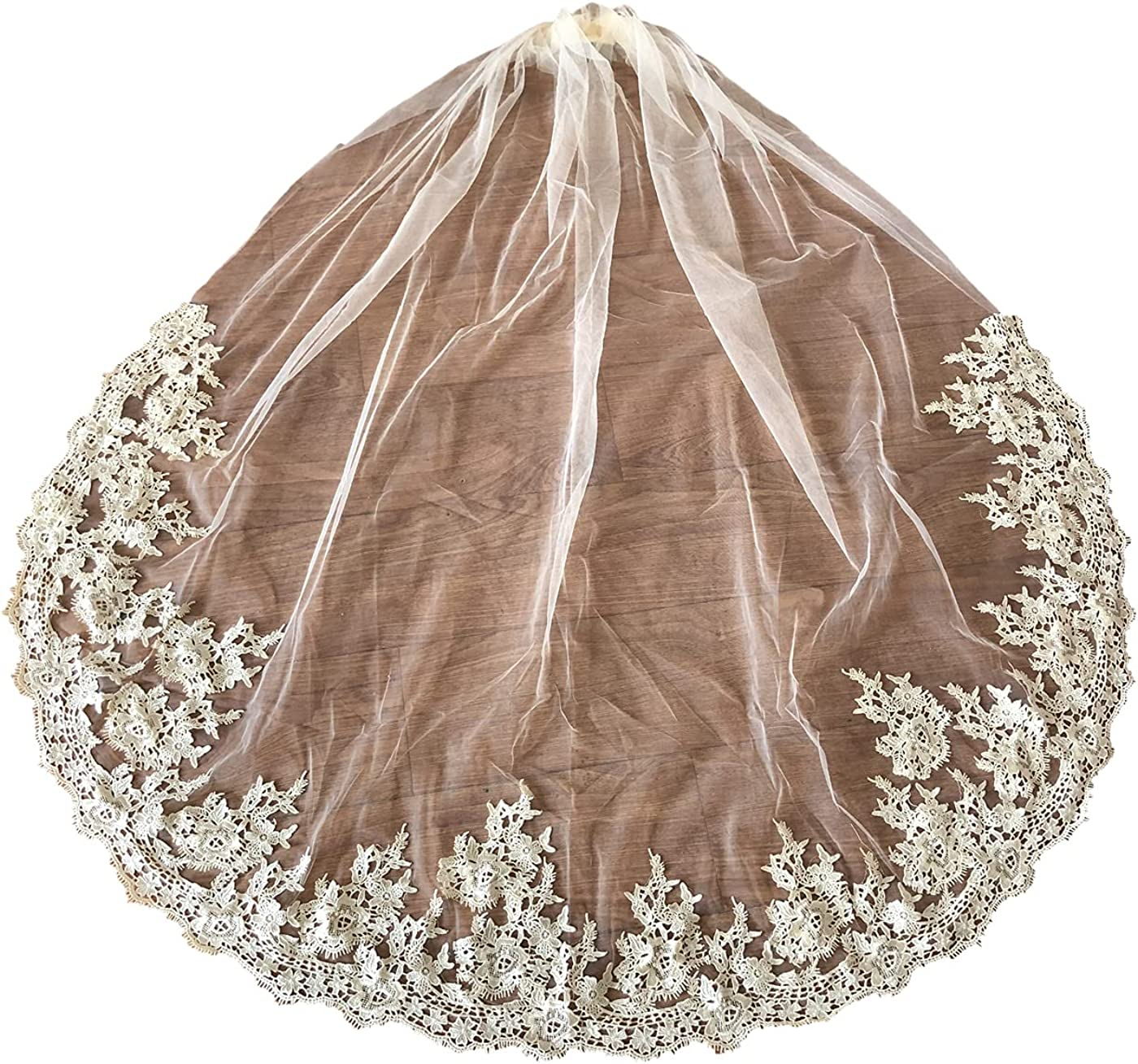 Wedding Veils 1 Tier Cathedral Ribbon Edge Tulle Lace Bachelorette with Comb