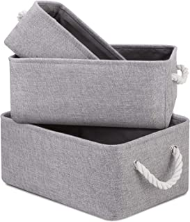 WISELIFE Decorative Basket Storage Rectangle Fabric Storage Bins for Toys Shoes Clothes Baskets for Organizing w/Handles(Grey, 16.1