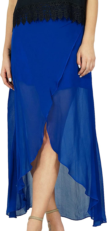 Bimba Asymmetrical Skirt Sheer Semi Lined Chic A-Line Skirt Party Wear