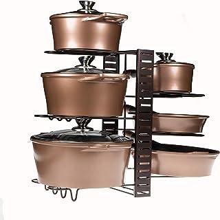 Soporte ajustable de ollas y sartenes   Capacidad para 8 ollas y sartenes   Organizador de cocina y alacena   Almacenamien...