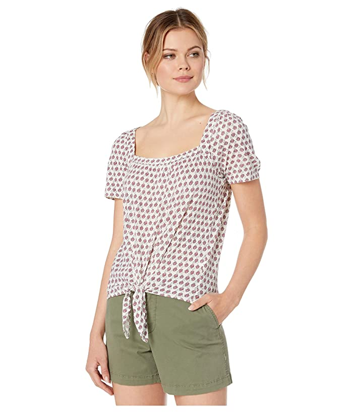 Lucky Brand  Super Soft Printed Tie Front Top (Pink Multi) Womens Clothing