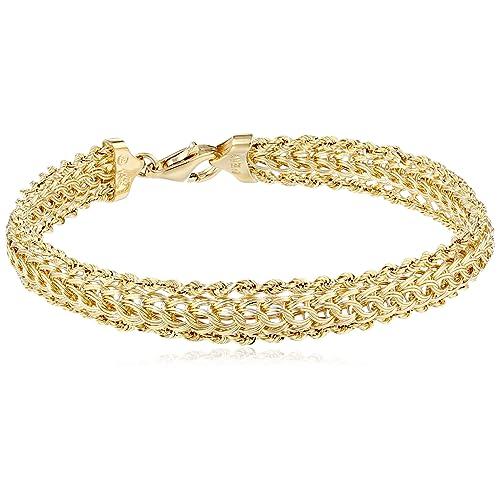 1b19d711d88 14K Yellow Gold Braided Rope Bracelet, 7.25
