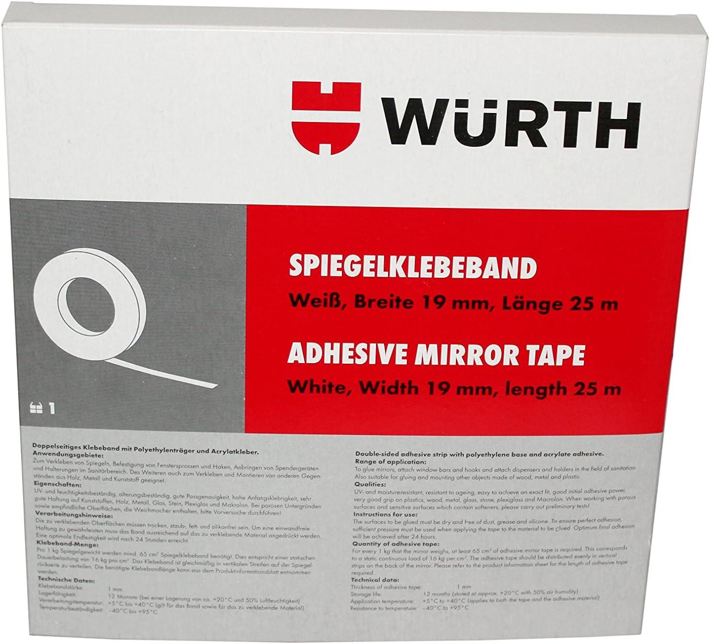 Wurth 8949180 NASTRO Sale SALE% OFF Specchio Würth larghezza e Direct store Bianco mm 19