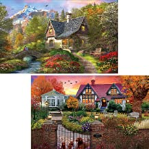 Yomiie 5D Diamond Painting Cottage Morning & Villa Dusk Full Drill by Number Kits for Adults, 2 Pack Village Landscape Pai...