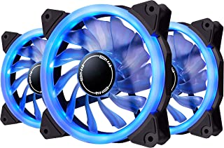 EZDIY-FAB 120mm Blue LED Ring Fan,Blue LED Case Fan for PC Case,CPU Cooler and Radiators,3-Pin 3 Pack