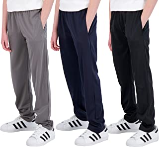 Real Essentials 3 Pack: Boys' Tricot Open Bottom Fleece-Lined Sweatpants with Pockets