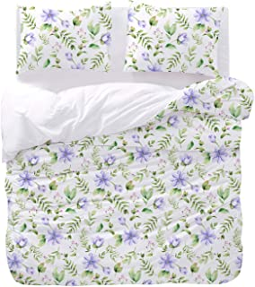 Wake In Cloud - Floral Comforter Set, Purple Lilac Flowers Leaves Botanical Plant Pattern Printed on White, Soft Microfiber Bedding (3pcs, Twin Size)