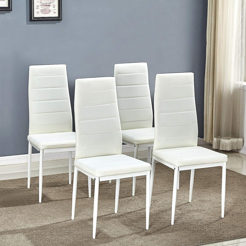KOSY KOALA X6 CHAISES NOIRES EN FAUX CUIR - CHAISES DE SALLE À MANGER White Table And 4 Chairs
