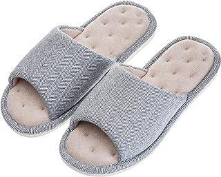 Echoapple Zapatillas unisex de algodón lavable con puntera abierta para el hogar, zapatos de interior, cómodos con forro d...