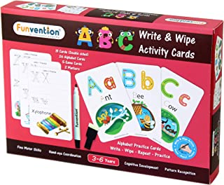 Funvention Educational Game ABC Alphabet Write and Wipe Activity Writing Practice Cards Learning Games, Educational Toys f...