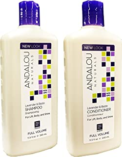 Andalou Naturals Lavender & Biotin Full Volume Shampoo & Conditioner Hair Loss Solution With Biotin Growth Serum, Aloe Ver...