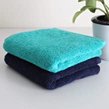 Heelium Bamboo Hand Towel for Sports & Gym, Ultra Soft, Super Absorbent, Antibacterial, 600 GSM, 25 x 15 inch, Pack of 2 Combo (Blue, Teal)