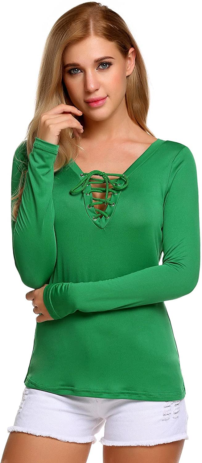 Zeagoo Womnen's Long Sleeve V Neck Lace Up Shirt Blouse