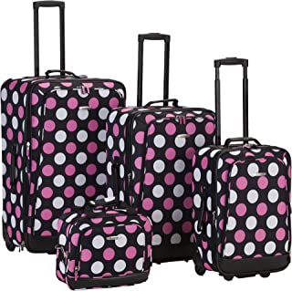 Luggage 4 Piece Printed Luggage Set, Mulpink Dots, Medium