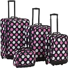 Rockland Luggage 4 Piece Printed Luggage Set, Mulpink Dots, Medium
