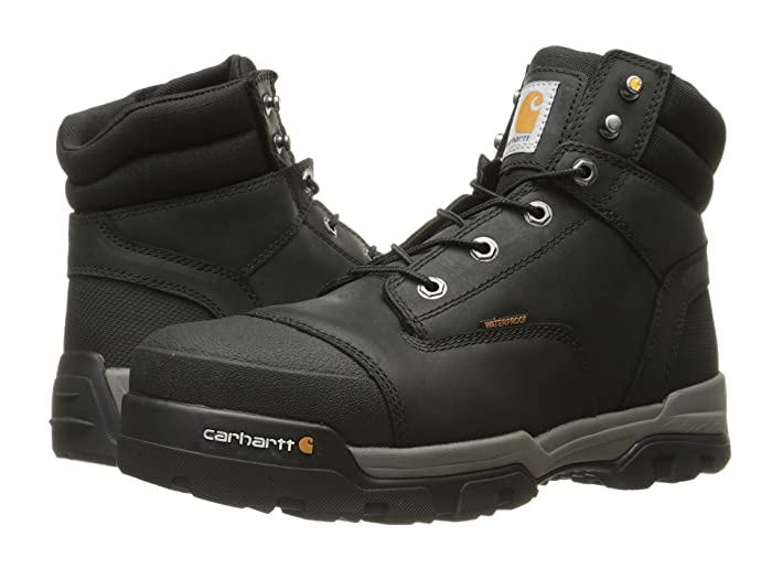 Carhartt  6 Ground Force Waterproof Composite Toe Work Boot (Black Oil Tanned Leather) Mens Work Lace-up Boots