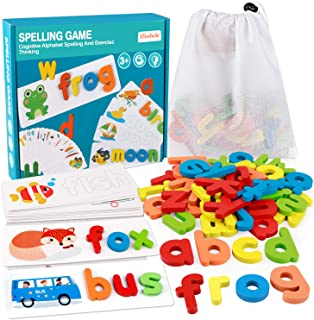Coogam See Spelling Learning Toy Wooden ABC Alphabet Flash Cards Matching Shape Letter Games Montessori Preschool STEM Edu...