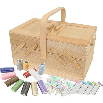 おまけ付 倉敷意匠 ならのソーイングボックス 常備糸12色 と まち針 55本 裁縫箱 木製