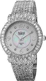Diamond & Crystal Women's Watch - 8 Diamond Hour Markers On Mother-of-Pearl Dial Mesh Bracelet Watch - BUR120