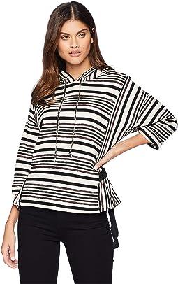 Stripe Hoodie Knit Top