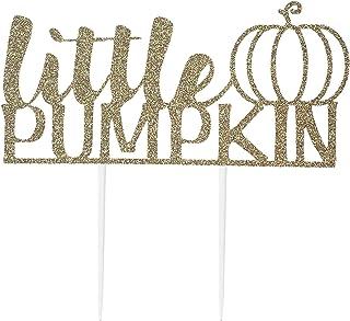 CMS Design Studio Handmade 1st Birthday Cake Topper Decoration - Little Pumpkin - Double Sided Gold Glitter Stock