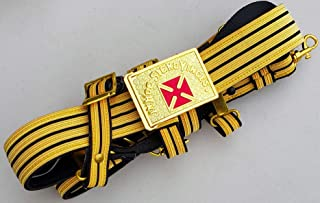 DEURA Masonic Knights Templar Gold // Black Gr. Commander Ceremonial Sword Belt & Buckle for Sir Knight Size Adjustable 36 to 50 INCHES