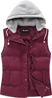 Wantdo Women's Lightweight Quilted Padded Vest Zip Up Front Gilet with Hood
