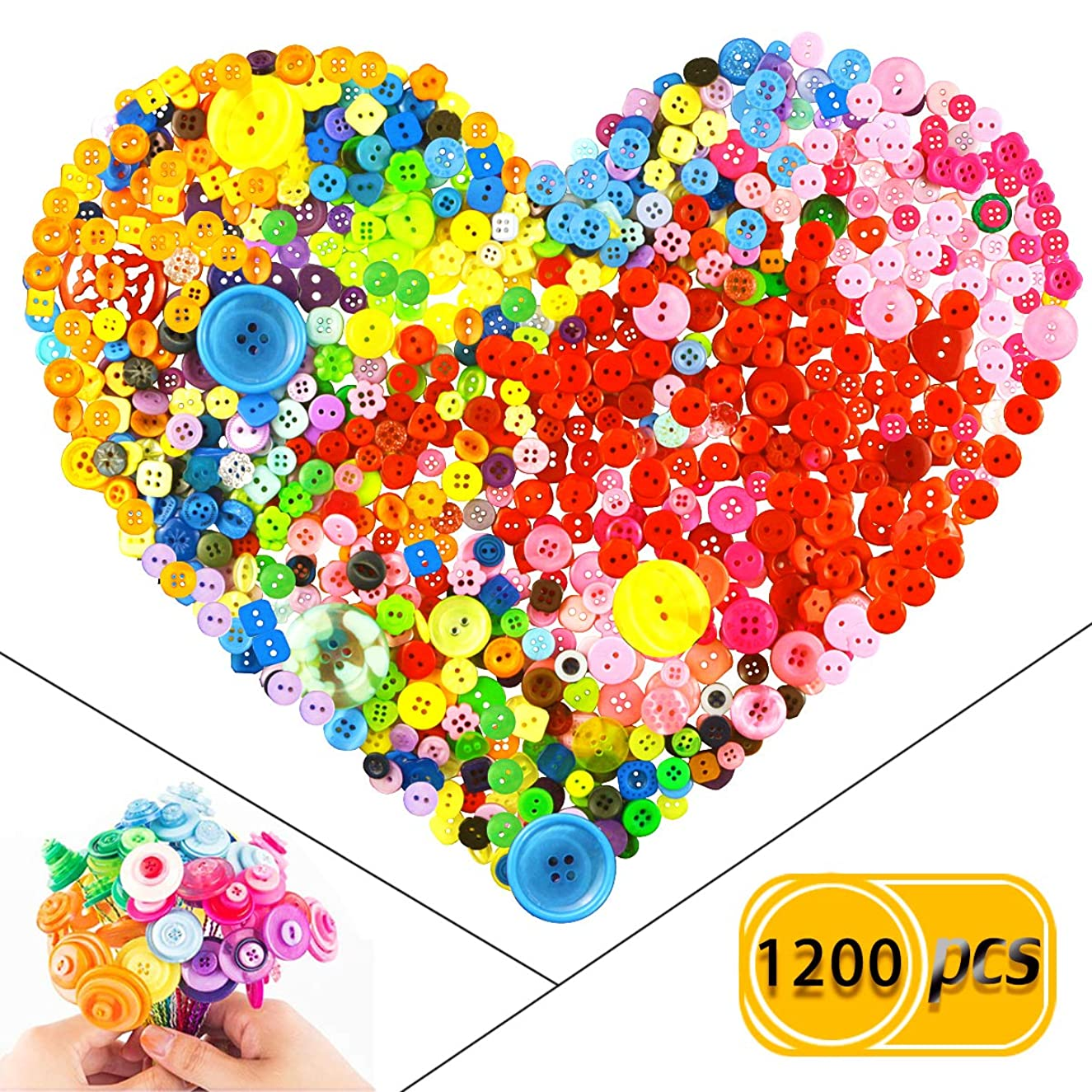 BcPowr 1200 Pcs Assorted Sizes Resin Buttons ,Mixed Color Round Craft Buttons for Sewing DIY Crafts,Children's Manual Button Painting