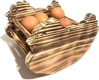 Coquetier rustique en bois de pin - porte œufs pour cuisine - artisanal et fait à la main en forme de poule (bois brûlé)