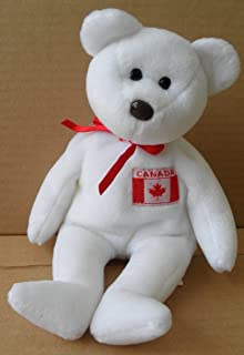 TY Beanie Babies Maple Bear Stuffed Animal Plush Toy - 8 1/2 inches tall - White with Canadian Flag on Chest