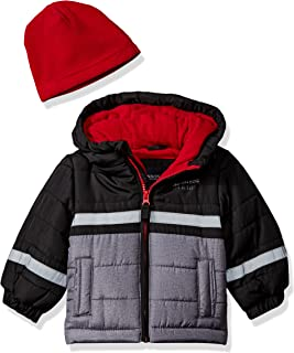 London Fog Baby Boys Color Blocked Puffer Jacket Coat with Hat