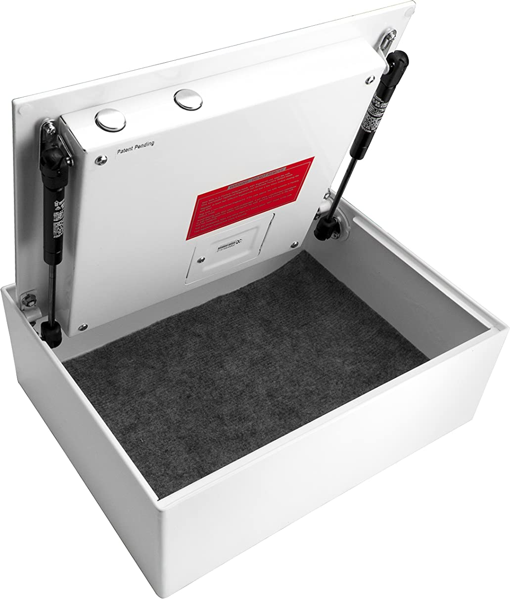 BARSKA Top Opening Steel Drawer Biometric Fingerprint Scan Safe 14.75 in x 11.25 in x 5 in, White