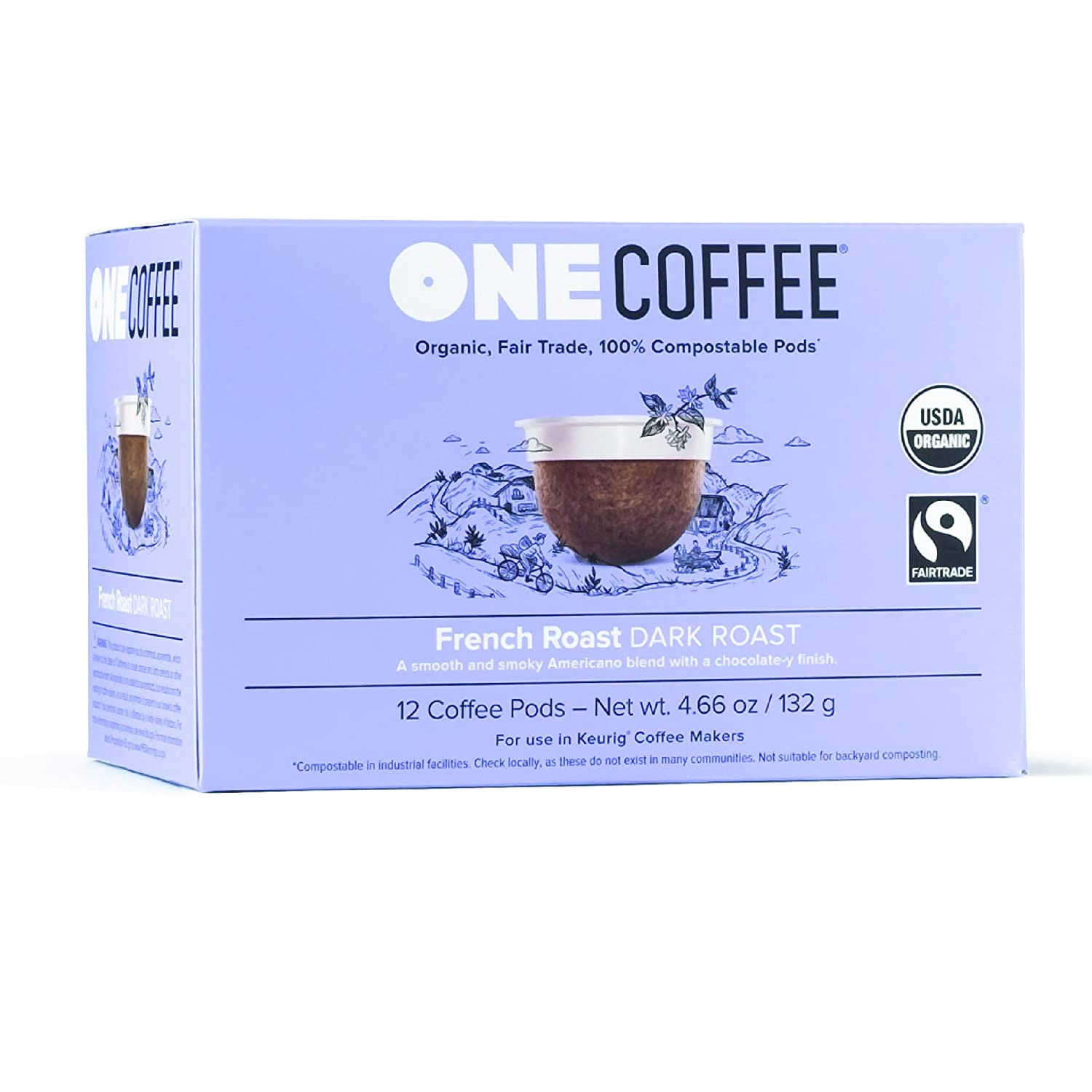 Gorgeous OneCoffee Organic French Roast 72 Super sale Count Comp Single Serve Coffee