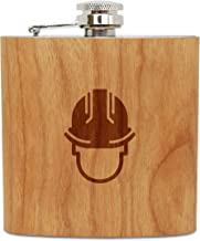 WOODEN ACCESSORIES COMPANY Cherry Wood Flask With Stainless Steel Body - Laser Engraved Flask With Hard Hat Design - 6 Oz Wood Hip Flask Handmade In USA