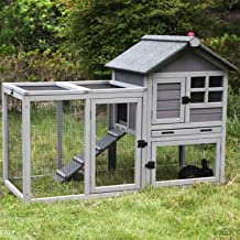GUTINNEEN Outdoor Rabbit Hutch Bunny Cage Indoor with Plastic Pull Out Tray,Guinea Pig House with Run,Top Open Door