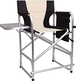 Tall Folding Directors Chair Portable Camping Chair - Lightweight Full Aluminum Frame Makeup Artist Chair with Side Table Storage Bag Footrest 300 lbs Supports 24 inch Seat Height
