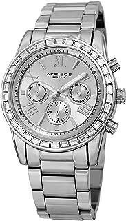 Akribos XXIV AK943 Women's Swiss Quartz Swarovski Crystal Bezel with Dial on Stainless Steel Bracelet Watch