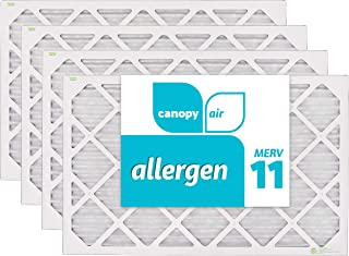 "Canopy Air 16x25x1, Allergen AC Furnace Air Filter, MERV 11, Made in the USA, 4-Pack (Actual Size 15 1/2"" x 24 1/2"" x 3/4"")"
