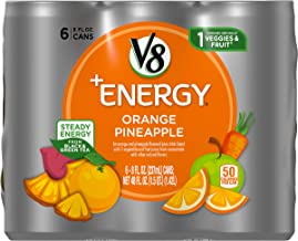 V8 +Energy Healthy Energy Drink, Natural Energy from Tea, Orange Pineapple, 8 Oz Can (4 Packs of 6, Total of 24)