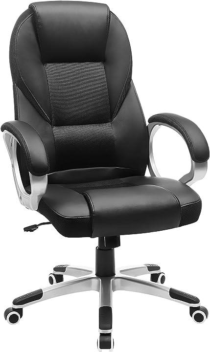 Sedia da ufficio songmics obg22b stabile resistente durevole altezza regolabile ergonomica nero 6955880317721