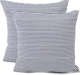 blue and white ticking pillows