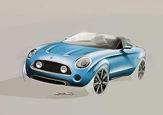 Mini Superleggera Vision Concept (2014) Car Art Poster Print on 10 mil Archival Satin Paper Blue Front Side Illustration View 20