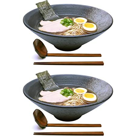 Japanese Ramen Noodle Soup Bowl Large Deep Interior Bowls for Pho Noodles Chow Mein Rice Ceramic Ramen Bowl with lid Spoons and Chop Sticks