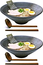 2 Sets (6 Piece) 57 Ounce Large Ceramic Japanese Ramen Noodle Soup Bowl Dishware Set with Matching Spoon and Chopsticks for Udon Soba Pho Asian Noodles (2, Grey Ceramic, 9.5 inches)