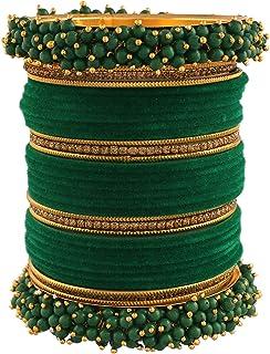 I Jewels 18K Gold Plated Traditional Green Velvet Chuda Bangle Set With Pearl Kada (ADB315G) (Pack of 1)