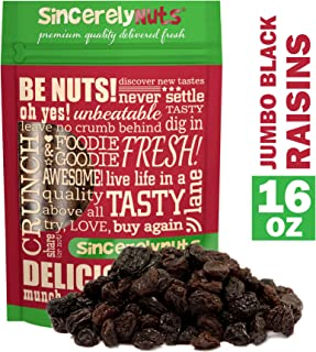 Sincerely Nuts Black Jumbo Raisins - One Lb. Bag – Rich In Nutrients, Appetizingly Flavorful - Freshness Guaranteed – Kosher Certified