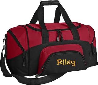 Small Colorblock Sport Duffel Bag | Personalized Monogram/Name Gym Bag (True Red/Black)