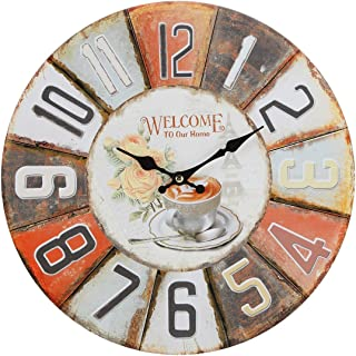 Lily's Home Rustic Vintage Inspired Decorative French Bistro Wall Clock, Fits Country or Retro Decor, Battery-Powered with Quartz Movement, Ideal Gift for Moms or Teachers (13