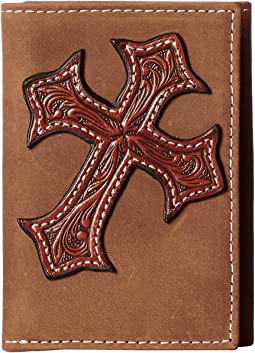 M&F Western - Large Tooled Cross Overlay Tri-Fold Wallet