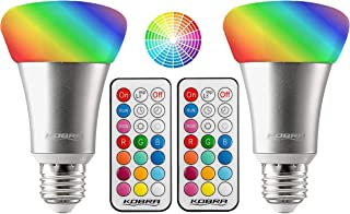 Kobra 10W RGBW 12 Color LED Light Bulb - LED Color Changing Light Bulb with Remote Control Color Changing LED Lights Timer, Variable Changing, 3 Brightness Setting LED Lights for Room Decoration 2-PK